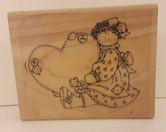"Rubber Stamp Patchwork Girl and Stitched Heart ""Unbranded"""
