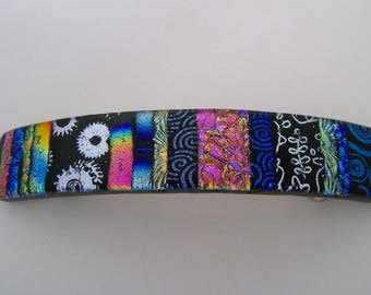 Large dichroic hair barrette.