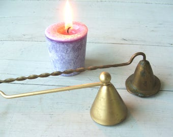 Two Vintage Brass Candle Snuffers