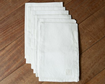 Vintage French Linen Napkins - white, set of 6