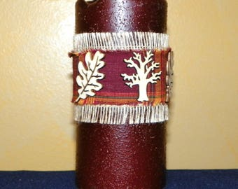 6 Inch Primitive Textured TIMER PILLAR Candles, Battery Operated
