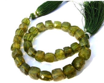 50% Off Sale 8 Inches - Olive Green Vasuvianite Faceted 3D Cubes Briolette Size 6 - 8mm, Natural Stone Finest Quality Wholesale Price