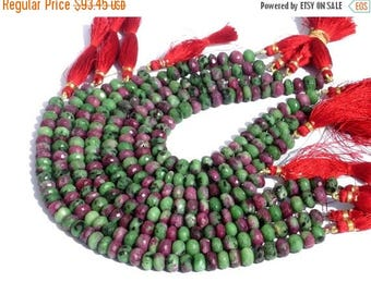 50% Off Sale 8 Inches - Genuine Ruby Zoisite Faceted Rondelles Size 8mm, Natural Stone Finest Quality Wholesale Price