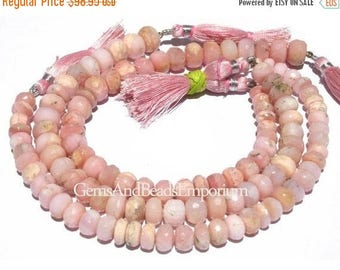 50% Off Sale Full 9 Inches 115 CTW 7-10mm Peruvian Pink  Opal Faceted Rondelles, Pink Opal Beads