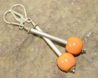 Orange Lampwork Glass and Sterling Silver Drop Earrings, Handcrafted Modern Art Glass Jewelry, Geometric Drops, Contemporary, Minimal, Chic