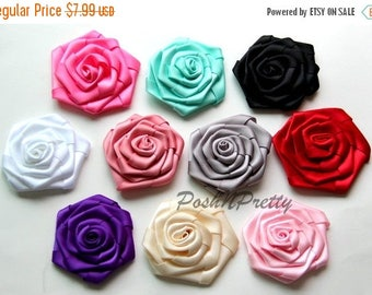 "20% OFF EXP 06/30 3"" Folded Double Sided satin Rose - Set of 5 - CHOOSE Colors"