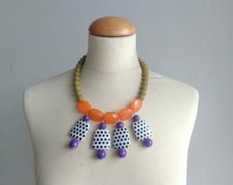 Chaki Green orange bib necklace, colourful chunky necklace, modern tribal necklace, statement green purple orange necklace, pop necklace