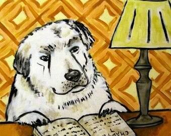 20% off Great Pyrenees Reading Dog Art Tile Coaster