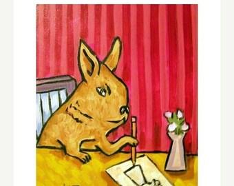 20% off Bunny Rabbit Artist Animal Art Print