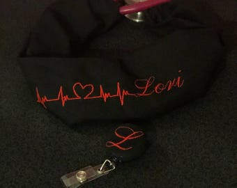 Stethoscope cover with heart rhythm and matching badge holder