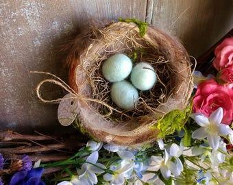 Beautiful Needle Felted Bird's Nest  Handmade Wool Spring Robin Bird Nest Farmhouse Decor