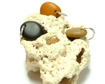 Genuine Drilled Beach Stone SMOOTHIES Beads Pebbles Jewelry diy River Rocks Drilled Natural Charms Organic Artisan Beads Orange Black