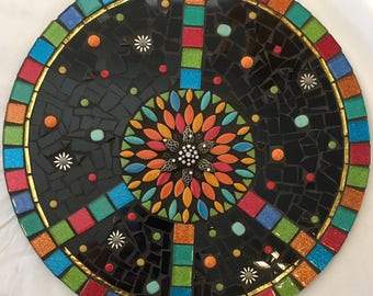 """14"""" Glass Mosaic Wall Hanging Peace Sign Groovy Baby"""