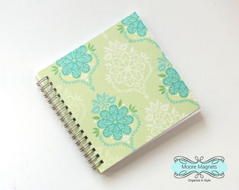 Small Coupon Organizer with 14 Pockets - Pre Printed Labels Included - Lime Glitter Damask