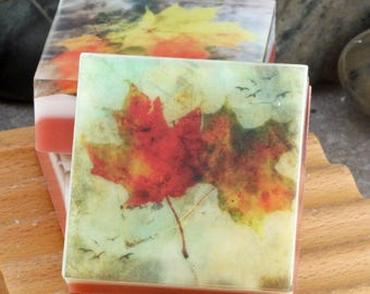 Graphic Art Soap - Fall Leaves - Guest Size Soaps in a Fresh Apple Scent, set of 60 RESERVED FOR RANDI