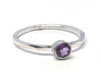 Amethyst Ring Silver - Amethyst Engagement Ring - February Birthstone Ring - Silver Stack Ring - Gemstone Stack Ring - Minimalist Gem Ring