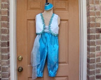 Shine costume, aqua Genie with glitter pants, girls size 6--only one like this
