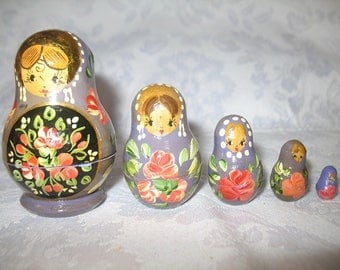 Vintage Lavender Stacking Wooden Russian Dolls