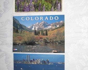 Set of 3 Scenic Photo Postcards of New York, Maine, and Colorado