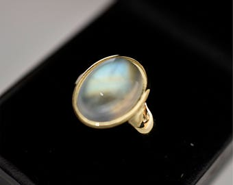 AAAA Rainbow Moonstone Cabochon 8.77 carats  Gem Quality 15 x 11mm in 14K Yellow gold ring, also available in Rose or White gold 1102
