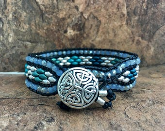Triple Layer Leather Wrap Cuff Bracelet with Superduos in Blue, Turquoise, Green and Silver