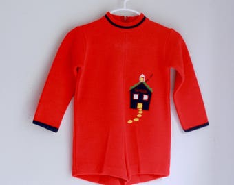 Vintage knit shorts outfit 2t 3t little world knits red schoolhouse
