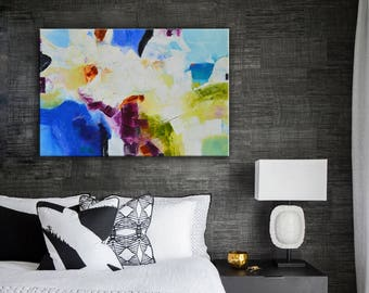 Blue turquoise Abstract Painting, blue painting, vibrant blue art, Robin egg blue art,  Abstract Original Painting, modern art, office decor