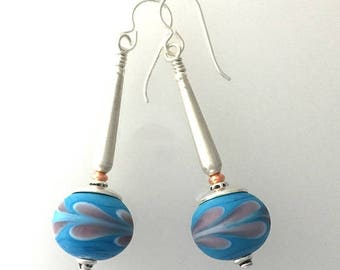 Summer Sale Lamp Work Glass and Sterling Silver Earrings. #3
