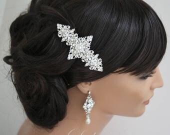 Art Deco Bridal Comb Wedding Hair Accessory Hair Comb Wedding Hair Piece Pearl Rhinestone Vintage Style Veil Comb MARCELLA