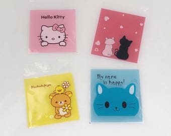 Self Adhesive Gift Bags. Plastic. Candy. Cookie. Hello Kitty. Cat. Bunny. Rabbit.