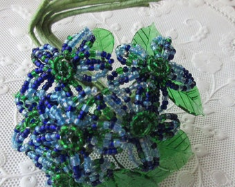 Wholesale Lot 18 Handmade Glass Seed Bead Blue Millinery Flowers Lucite Leaves
