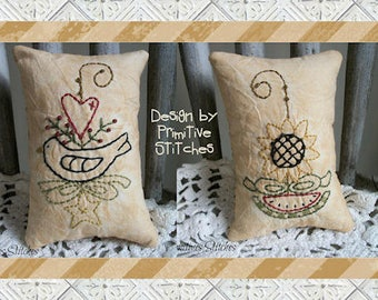 Spring Wire Mini Collection 1-Primitive Stitchery Pattern by Primitive Stitches-Instant Download