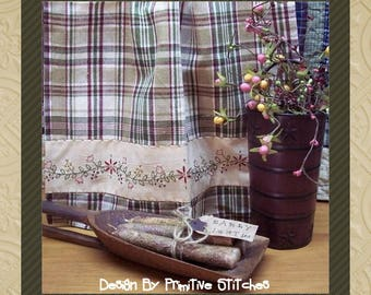 Floral Garland Towel Band-Primitive Stitchery Pattern-E-PATTERN by Primitive Stitches
