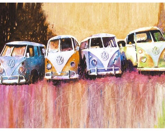 "36x24"" Large Volkswagen Art Hippie Love VW Bus ""Purple Haze"" Prints Signed and Numbered FREE SHIPPING"