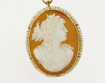 Antique 10K Gold Shell Cameo Brooch Pendant Seed Pearl Frame