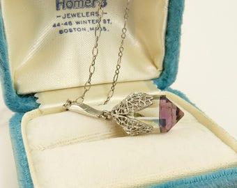 Antique Art Deco Amethyst Crystal Lavalier Pendant Necklace Wedding Bridal Jewelry