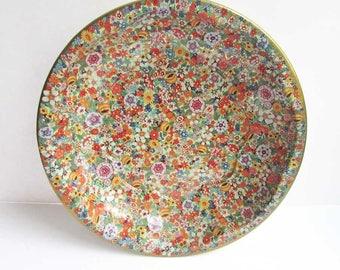 Chintz Floral Pattern Design Vintage 1970 Tin Daher Serving Bowl, Fruit Bowl, Catchall Dish, Many Flowers, Table Centerpiece, Vintage Tin