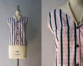 1950s Blouse / Vintage 50s Pink Plaid Cotton Top / 50s Nude Pink Blue and Black Sleeveless Cotton Shirt XS extra small