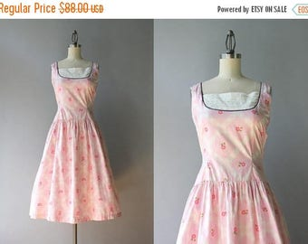 STOREWIDE SALE Vintage 50s Dress / 1950s Pink Cotton Sundress / 50s Dropwaist Flowers and Lace Dress XS extra small