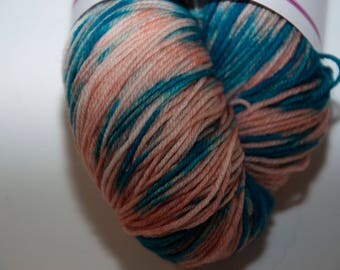 Hand-Dyed Coral Reef Colourway 4 ply Yarn Polwarth Snuggly Base