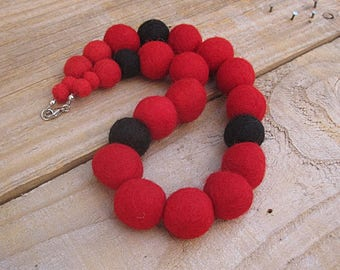 Felt Beads Necklace - Red and Black Limited Edition Chunky Fabric Necklace