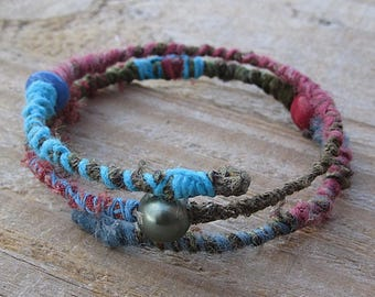 Recycled Fabric Wrap Bracelet - Rustic Boho Fibre Cuff on Memory Wire - Pink, Blue, Green - Cotton and Wool