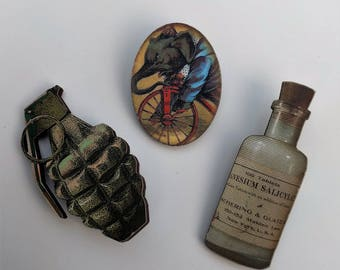 3 x Wooden Brooches - Grenade, Bottle, Elephant (SET A11)