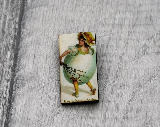 Easter Brooch, Girl in an Egg Brooch, Wood Jewelry, Animal Brooch, Spring Jewelry