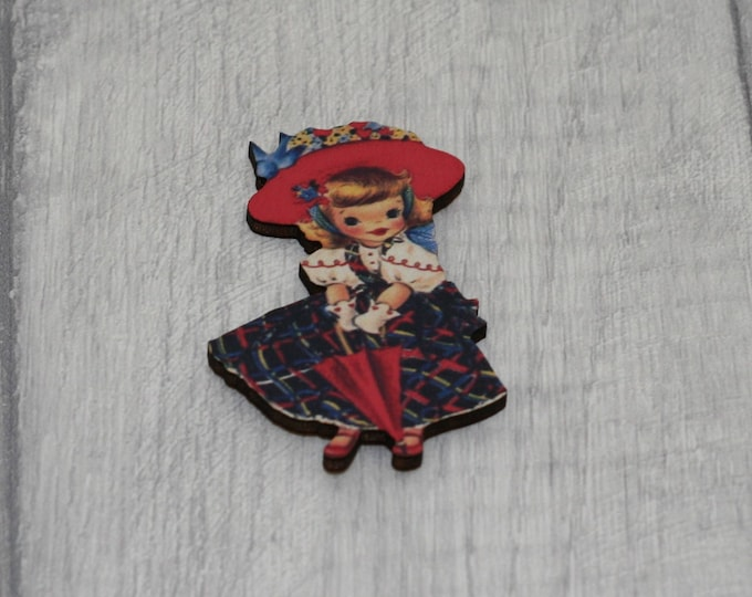 Retro Girl Brooch, Vintage girl Illustration, Wood Jewelry, Retro Pin, Little Girl Badge