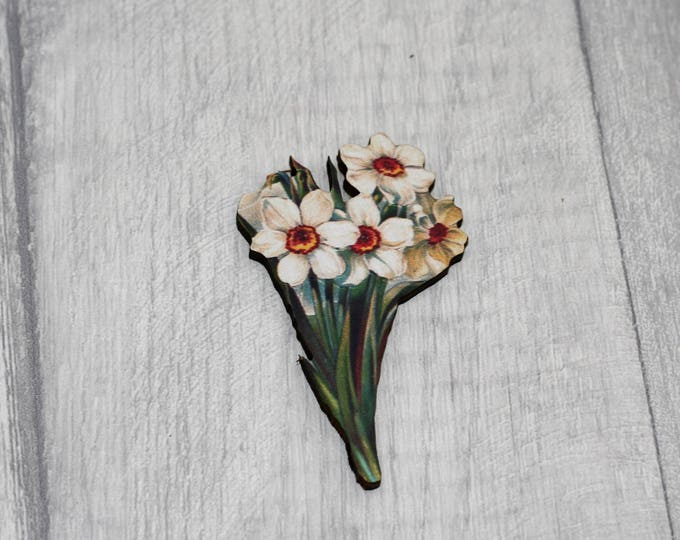 Daffodil Flower Brooch, Vintage Floral Illustration, Wood Jewelry, Retro Pin