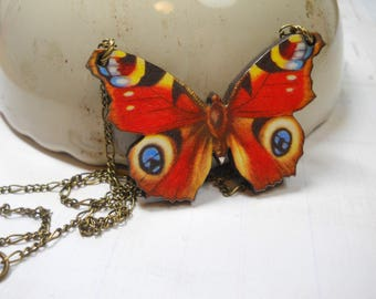 Butterfly Necklace on Brass Chain Decoupage Charm Nature Garden Jewellry Moth Insect Large Wood Pendant Adjustable Chain Length LOVE Charm