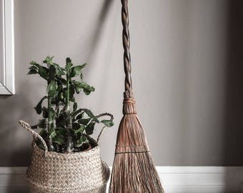 Antique Broom, Hearth Broom With Spiral Carved Wood Handle, Rustic Home Decor