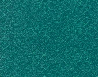 Midnight Garden Fabric // Green Shells Quilting Fabric  // 1canoe2 // cotton quilting