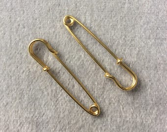 Vintage Brass Safety Pin Jewelry Finding